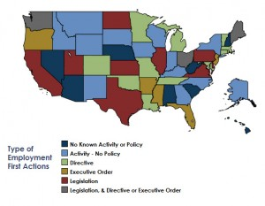 Map of US States Taking Policy Action for Employment First